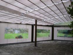 Vista interior del techo, con toldo plano.